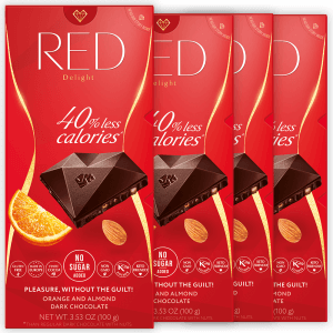 RED dark chocolate with orange and almond